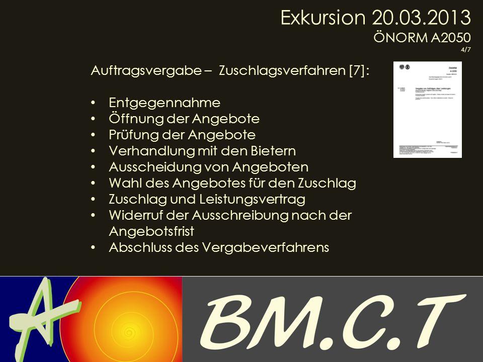 Exkursion 20.03.2013 ÖNORM A2050. 4/7. Auftragsvergabe – Zuschlagsverfahren [7]: Entgegennahme.